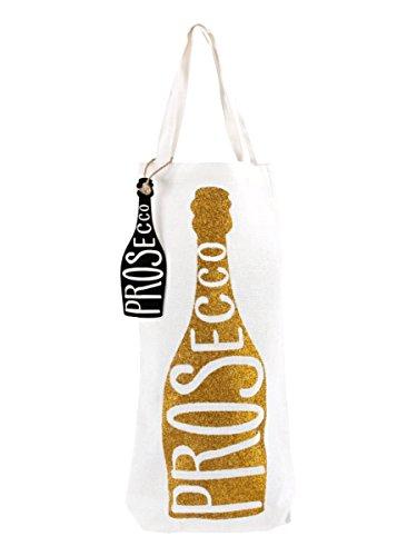 'Prosecco' Glitzer Canvas Flasche Geschenktüte Mit Henkel