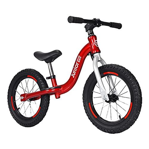 ZLI Bicicleta Equilibrio Bicicleta de Equilibrio Rojo para Niños de 2-10 Años, Rueda de 12'' 14'' Bicicleta de Entrenamiento de Equilibrio para Niños Pequeños con Asiento Ajustable, Marco de Aluminio