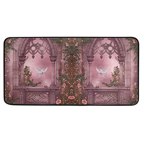 Malplena Fantasy Artistic Arch Rose - Alfombra para puerta (39 x 20 cm), diseño de arco, color rosa