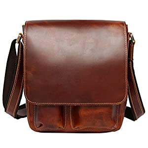 Lannsyne メンズ ショルダーバッグ 斜め掛けバッグ 本革 レザー メッセンジャーバッグ iPad対応 カジュアル 通勤 アウトドア 鞄