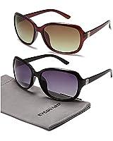 EYEGUARD 2 Pack Polarized Sunglasses for Women Men Classic Retro Vintage Oversized Eyewear