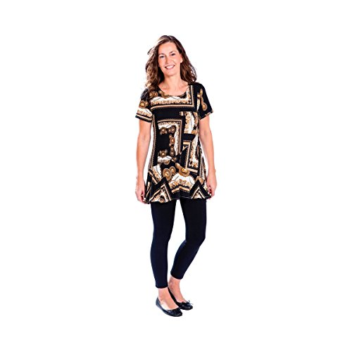 TRI Longshirt Tessin, T-Shirt Bluse Tunika Kleidung Oberteil Damen, figurschmeicheln, Polyester, schwarz braun Gemustert