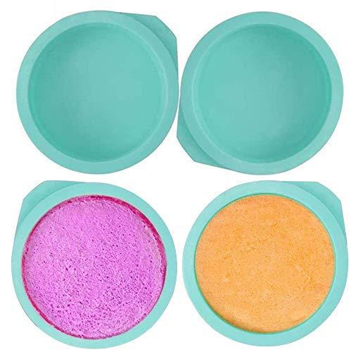 WENTS Silikon Kuchenform Runde Backform 6 Zoll BPA-frei, Antihaft-Backformen Pfanne, 4 Stück