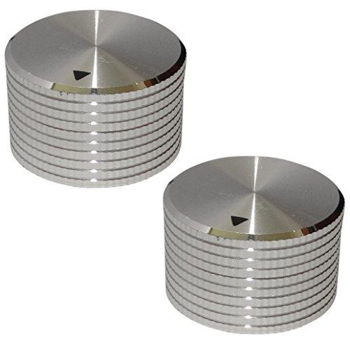 Aerzetix 2 Potentiometer Knöpfe für glatte 6mm Ø25x15mm Achse. Farbe: silber. alu