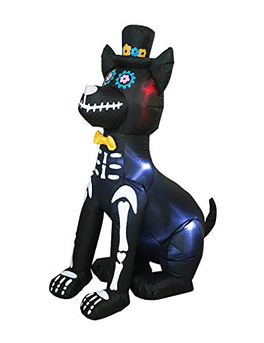 AJY 4 Feet Halloween Inflatable Dog Skeleton Spooky Town Skeleton Yard Art Décor Inflatable LED Lights Halloween Display Blow up Lighted Yard Decor Lawn Home Garden Party Favor Decoration