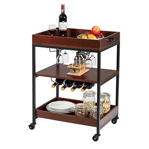 Giantex Kitchen Island Cart Rolling Industrial Style Trolley 3-Tier Serving Cart Utility Cart Wood Kitchen Stand with Glasses Holder and Wine Bottle Rack, Metal Frame and Castors, Rustic Brown