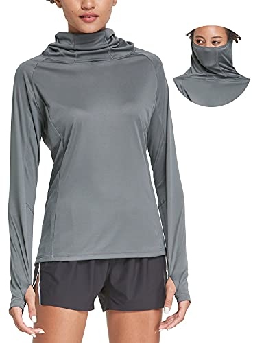 BALEAF Women's Hiking Long Sleeve Shirts with Face Cover Neck Gaiter UPF 50+ Lightweight Quick Dry SPF Fishing Running Hoddie Dark Gray Size L
