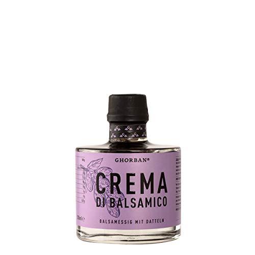 GHORBAN Crema di Balsamico mit Dattel (200ml) - Dattel Balsamico Essig, Balsamico Creme süß, Balsamico alt (10 Jahre gereift), echter Aceto Balsamico di Modena IGP, Balsamico Dattel Essig