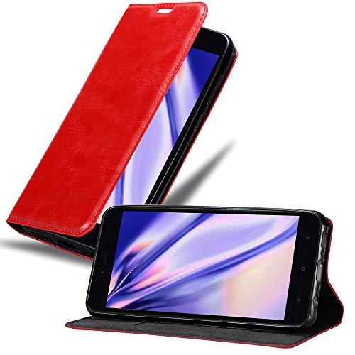 Cadorabo Funda Libro para Xiaomi RedMi Note 5A en Rojo Manzana - Cubierta Proteccíon con Cierre Magnético, Tarjetero y Función de Suporte - Etui Case Cover Carcasa