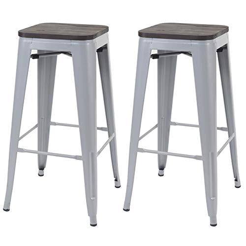 Mendler 2X Barhocker HWC-A73 inkl. Holz-Sitzfläche, Barstuhl Tresenhocker, Metall Industriedesign stapelbar - grau