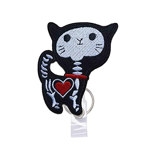 Reeleer X-ray Tech Skeleton Cat Badge Reels Retractable, with Alligator Clip and Key Ring, 24 inches Thick Pull Cord