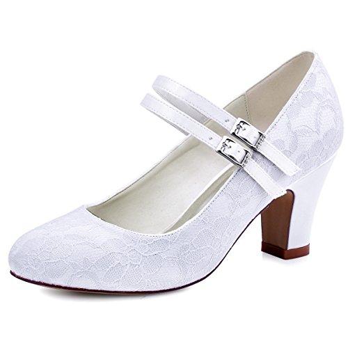 Elegantpark HC1701 Chaussures Mariée Dentelle Fermé Toe Mary Jane Escarpins Femme Talon Boucle Satin Soirée Chaussures de Mariage Blanc EU 40