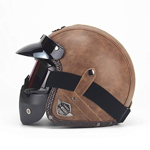 XJYZ Leather Motorcycle Retro Men's Helmets, Vintage Cruiser Scooter Touring Moto Helmet Sun Visor Quick Adjustable for Men and Women Personality DOT Approved