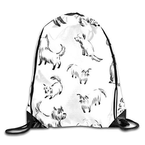 OMGiHome Mini terriers Drawstring Bag Sport Gym Sackpack Drawstring Backpack Mouth Gym Sack Rucksack Shoulder Bags for Men & Women