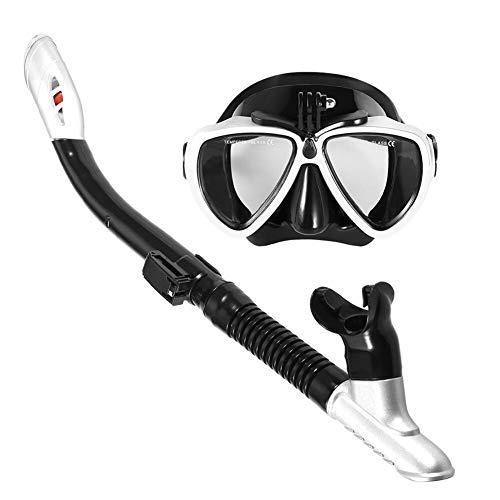Juego de máscara de esnórquel, antiempañamiento, buceo, con tubo de esnórquel seco fácil de respirar (color: 2)
