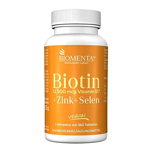 BIOMENTA BIOTIN HOCHDOSIERT 12.500 mcg + ZINK + SELEN | AKTION!!! | 365 Biotin Tabletten VEGAN |...