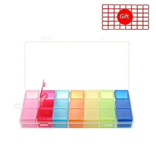 HEACI Portable Weekly Pill Organizer 7 Day(3 Times a Day) Travel Pill Box for Vitamin, Fish Oil, Supplements
