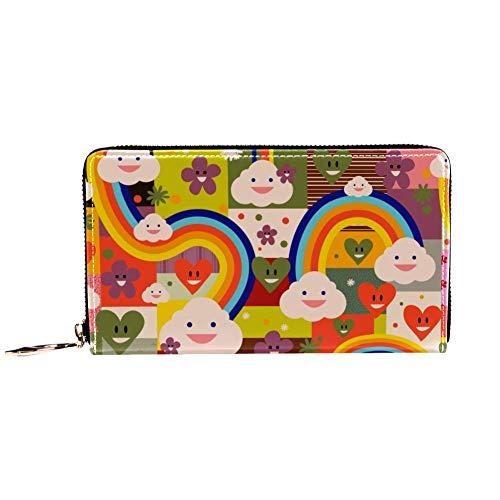 XCNGG Damen Reißverschluss um Brieftasche und Telefon Clutch, Rainbow Cute Pattern...