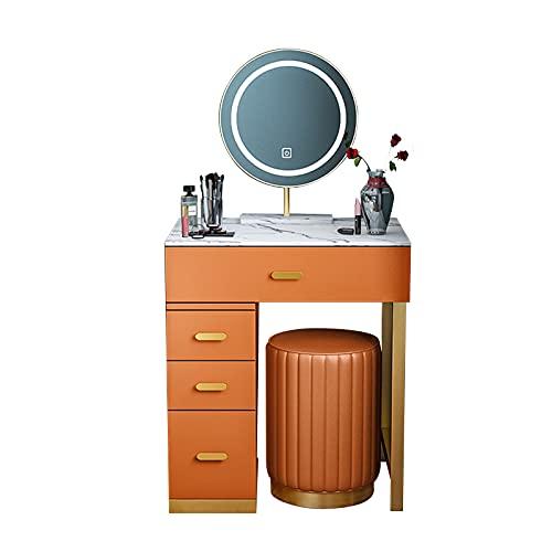 Encimera Mármol Tocador, Tamaño Pequeño Escritorio de Maquillaje, Dormitorio Tocador, con Taburete Maquillaje, Espejo Inteligente LED, Cuatro Cajones, 50 * 40 * 110 Cm