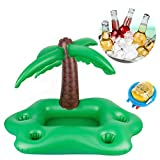 Sukang Aufblasbarer Getränkehalter aus Kokosnussbaum,Aufblasbar Getränkehalter Pool Zubehör Spaß Erwachsene,Poolbar,55x55x95cm,Mit Luftpumpe