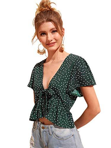 SweatyRocks Women's Short Sleeve Deep V Neck Self Tie Front Crop Top Blouse Deep Green S