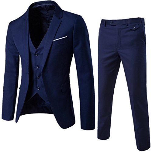 Sunshey Herren Anzug 3-Teilig Slim Fit Anzugsjacke Anzugsweste Anzugshose ein knopf Muster, Dunkelblau, DE L/China 3XL