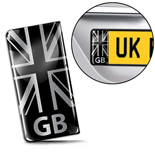 SkinoEu 2 x 3D Gel Silicone Badge Car Number Plate Self-Adhesive Stickers GB UK United Kingdom Union Jack National Flag Silver EU Motorcycle Road Decals QS 28