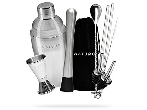 NATUMO - Set barman per cocktail completo con shaker professionale in acciaio INOX, 9 pezzi