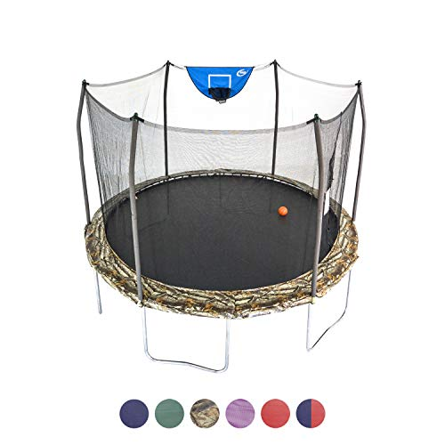 Skywalker Trampolines 15-Foot Jump N' Dunk Round Trampoline with Enclosure Net - Basketball Trampoline