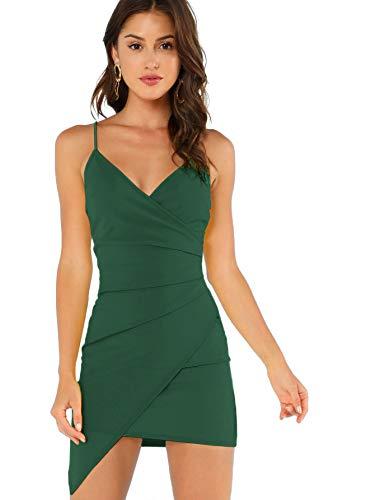 Verdusa Women's Sexy Ruched Side Asymmetrical V Neck Bodycon Cami Dress Green S