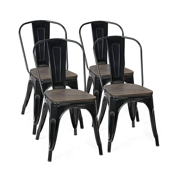 COSTWAY Tolix Style Dining Chairs Industrial Metal Stackable Cafe Side Chair with...