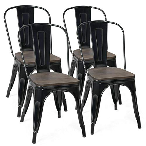 COSTWAY 18 Inch Dining Chair Set of 4, Industrial Vintage Stackable Metal Stools, Counter Bar Stools with High Backrest, Wood Seat, for Home, Kitchen and Cafe Bar Use