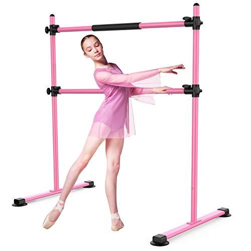 Segteckric Portable Dance Ballet-Barre Bar for Home - 4ft Upgraded Adjustable Freestanding Stretching Ballet Double Bar Fitness Exercise Equipment for Kids Women Men (Pink)