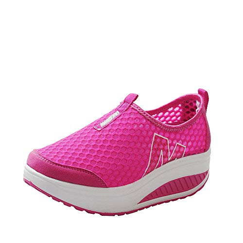 Zapatillas de Deportivos de Running para Mujer Malla Transpirable Pendiente con Suela Gruesa para Aumentar los Zapatos Casuales Running Fitness Sneakers Zapatos Mecedora riou