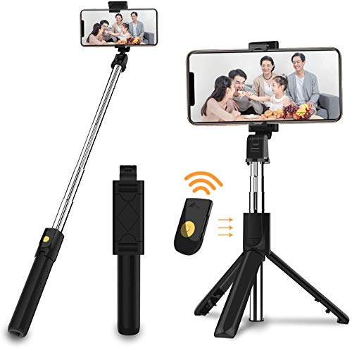 SOOTEWAY Palo Selfie Tripode Bluetooth con Control Remoto, 3 en 1 Mini Palo Stick Extensible Movil Deportivo para iPhone/Samsung/Xiaomi/Huawei Android Smartphones de 3.5-6 Pulgadas