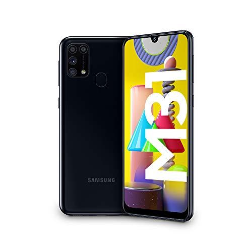 """Samsung Galaxy M31, Smartphone, Display 6.4"""" Super AMOLED, 4 Fotocamere Posteriori, 64GB Espandibili, RAM 6GB, Batteria 6000 mAh, 4G, Dual Sim, Android 10, [Versione Italiana], Nero, Esclusiva Amazon"""
