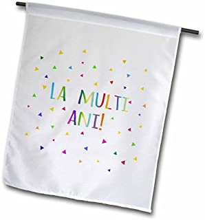 3dRose fl_202050_1 La Multi ANI Happy Birthday, Romanian Colorful Rainbow Text Romania Garden Flag, 12 by 18