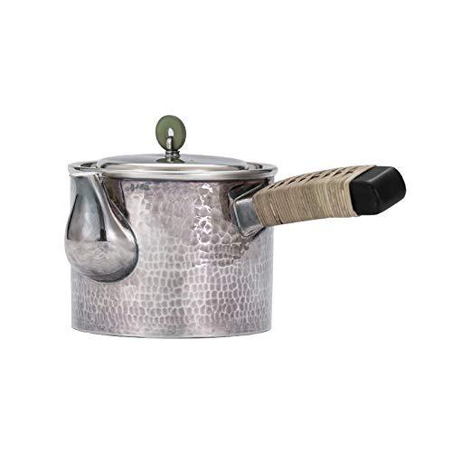 CRTTRC Kettle Sterling Silver Jade Viejo Estilo japonés Tetera Juego de té del hogar Pote de Plata Pote de Mango