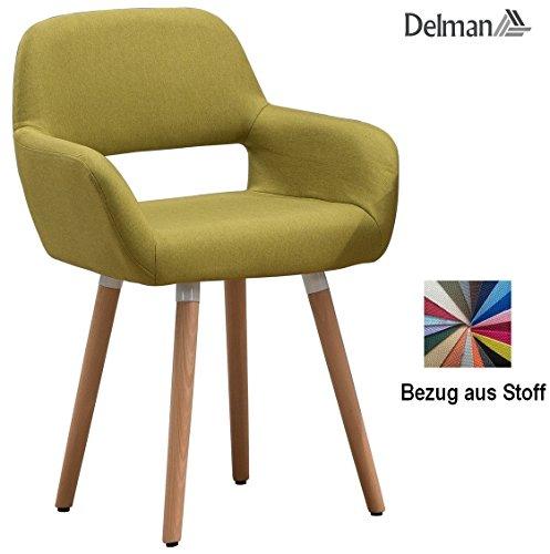 Delman Besucherstuhl Esszimmerstuhl Wohnzimmerstuhl Armsessel Sessel Stoff-Bezug Küchenstuhl 02-0016 (Grün)