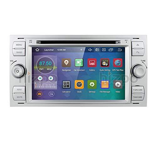 hizpo Android 10 Quad Core autoradio doppio DIN stereo Headunit per Ford Focus Mondeo S-MAX C-MAX Galaxy, supporto di navigazione GPS, specchio 4G WiFi OBD2 DAB + SWC DVD Radio(Argento)