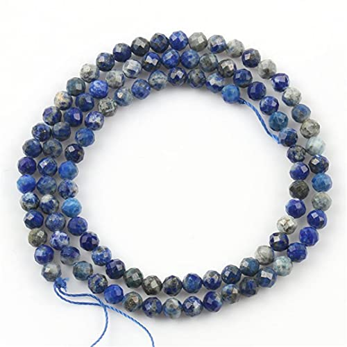 HUKGD Piedra Natural facetada Varias Cuentas Redondas Sueltas de Piedra para Hacer Joyas Collar de Pulsera Hecho a Mano DIY 2/3/4 Mm 15 Pulgadas Lapis Lazuli 2 2mm 180pcs Beads