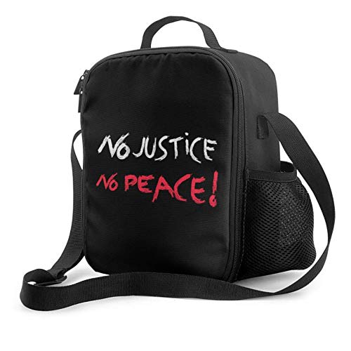 IUBBKII Bolsa de almuerzo con aislamiento No Justice, No Peace Insulated Lunch Bag, Leakproof Flat Lunch Cooler Tote with Shoulder Strap for Men and Women, Suitable for Work Office
