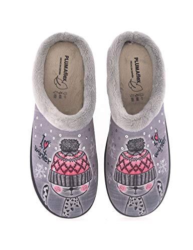 Zapatillas de casa para Mujer Fabricadas en España Roal 12213 Gato - Color - Gris, Talla - 37