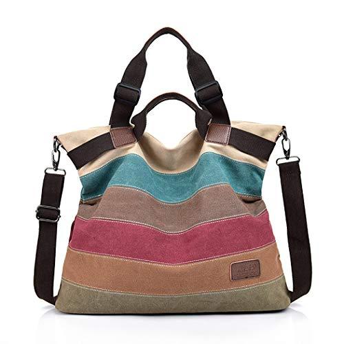 Canvas Tasche,COOFIT Damen Handtasche Multi-Color-Striped Umhängetasche Schultasche Canvas Shopper Tasch (Bunte)