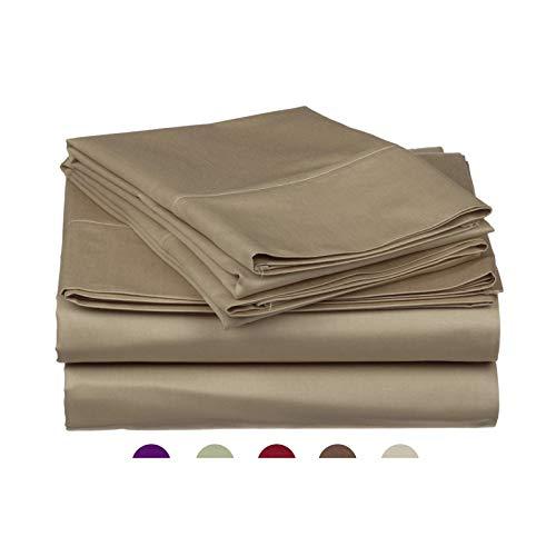 High Strength Natural Bamboo Fiber Yarns Egyptian Comfort 1800 Thread Count 4 Piece Full Size Sheet Set, Mocha Color
