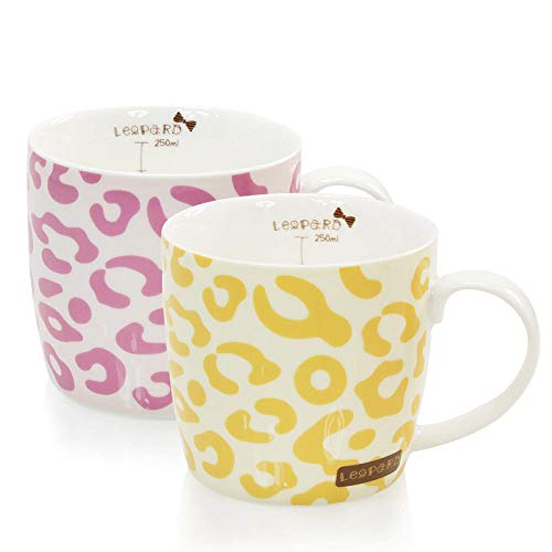 MIC-moonjack Tiermuster Becher Keramikbecher Milchkaffeetasse Teetasse Mit Skala Mit DeckellöFfel 300 Ml 2 Tassen@Leopard pink + gelb