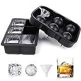 2 stampo ghiaccio, creatore di sfere di ghiaccio con sfera in silicone con coperchio e stampi quadrati grandi per cubetti di ghiaccio per whisky.