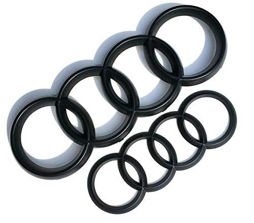 Mate Negro parrilla frontal y trasera anillos insignia emblema–Das Automotive