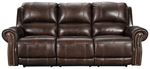 Signature Design by Ashley Buncrana Traditional Power Reclining Sofa with USB Charging Port, Brown