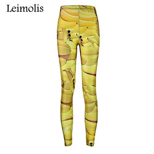 LEIMOLIS Yoga Hosen Leggings Printed 3D Fitness Push Up Workout Leggings Frauen Obst Banane Plus Size Hohe Taille Punk Rock Hosen, Gold, L